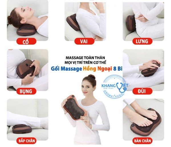 Gối Massage Hồng Ngoại 8 Bi Xoay 2 Chiều Magic PL818